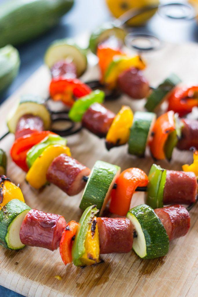 10-Minute Sausage Kabobs recipe image thegoldlininggirl.com 5