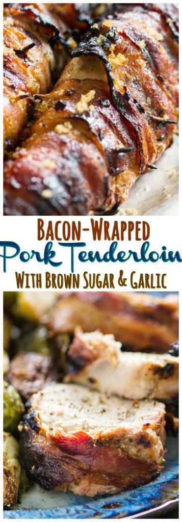 Bacon-Wrapped Pork Tenderloin recipe image thegoldlininggirl.com pin 1