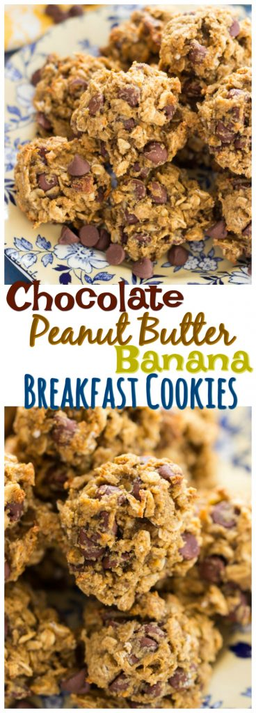 Chocolate Peanut Butter Banana Breakfast Cookies recipe image thegoldlininggirl.com pin 2