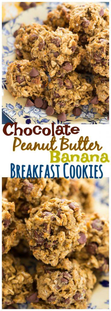 Chocolate Peanut Butter Banana Breakfast Cookies recipe image thegoldlininggirl.com pin 2