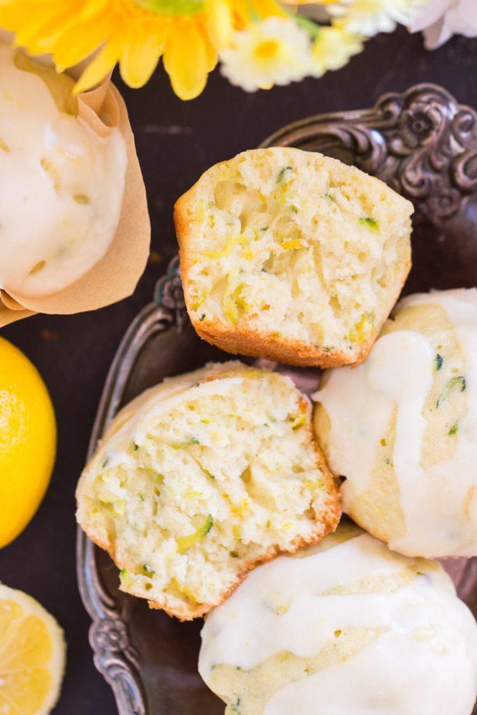 Lemon Zucchini Muffins with Lemon Glaze recipe image thegoldlininggirl.com 12