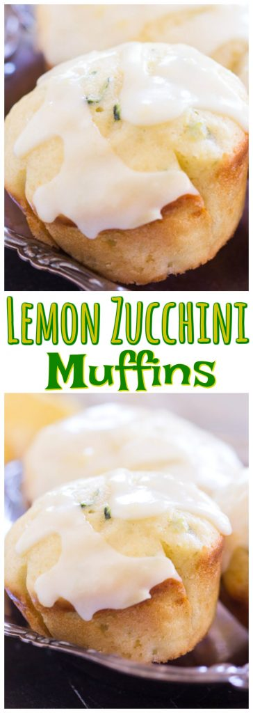 Lemon Zucchini Muffins with Lemon Glaze recipe image thegoldlininggirl.com pin 1