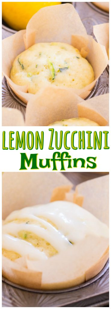 Lemon Zucchini Muffins with Lemon Glaze recipe image thegoldlininggirl.com pin 3