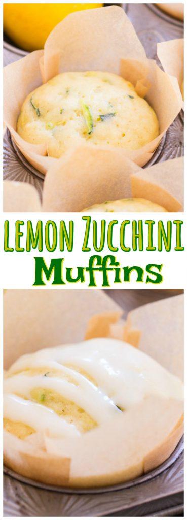 Lemon Zucchini Muffins with Lemon Glaze recipe image thegoldlininggirl.com pin 3