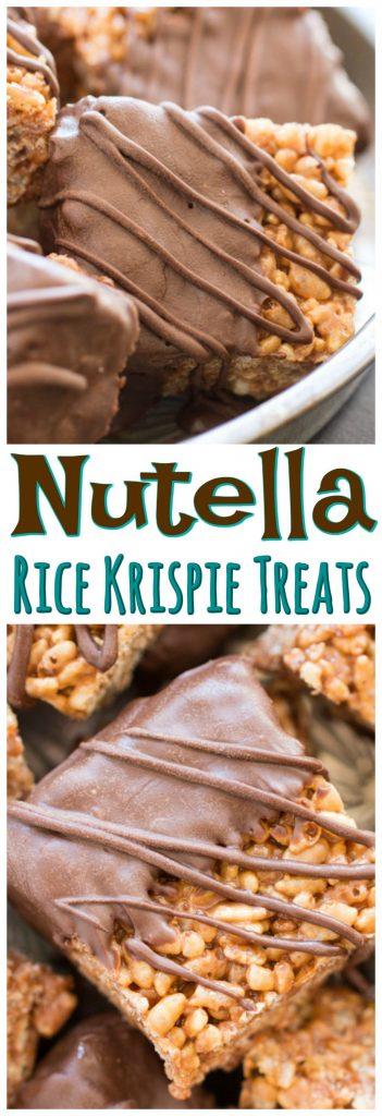 Nutella Rice Krispie Treats recipe image thegoldlininggirl.com pin 2