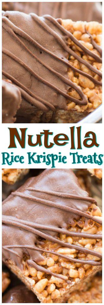 Nutella Rice Krispie Treats recipe pin 1