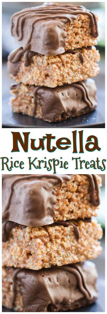 Nutella Rice Krispie Treats recipe pin 2