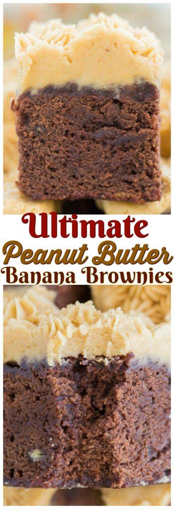 Peanut Butter Banana Brownies recipe image thegoldlininggirl.com pin 1