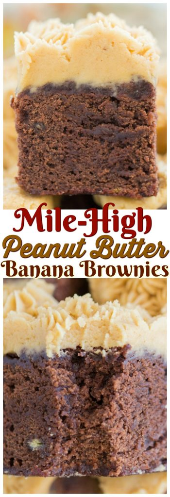 Peanut Butter Banana Brownies recipe image thegoldlininggirl.com pin 2