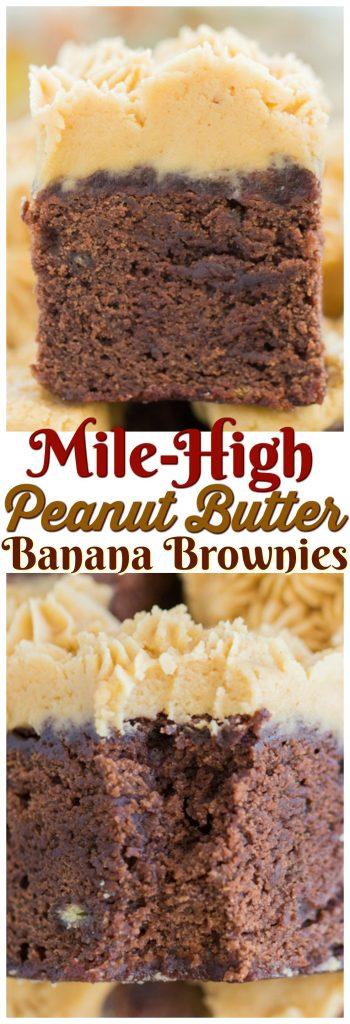 Peanut Butter Banana Brownies recipe image thegoldlininggirl.com pin 2