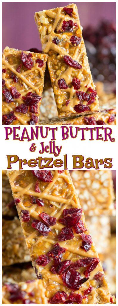 Peanut Butter & Jelly Pretzel Bars recipe image thegoldlininggirl.com pin 1