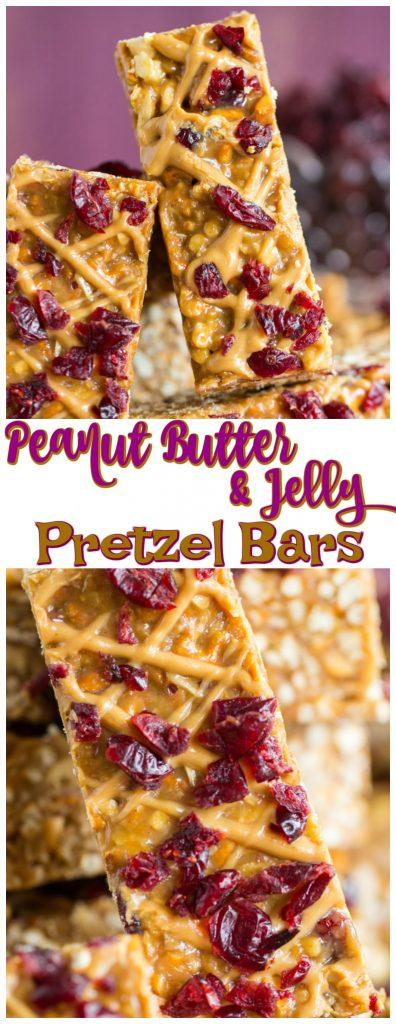 Peanut Butter & Jelly Pretzel Bars recipe image thegoldlininggirl.com pin 2