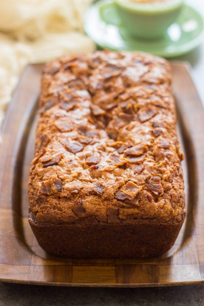 Bacon Peanut Butter Banana Bread recipe image thegoldlininggirl.com 1