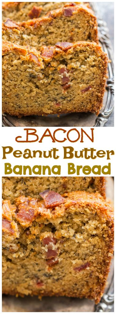 Bacon Peanut Butter Banana Bread recipe image thegoldlininggirl.com pin