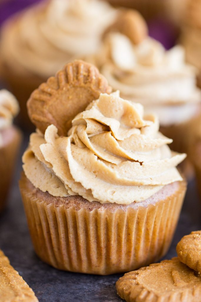 Cookie Butter Cupcakes recipe image thegoldlininggirl.com 1