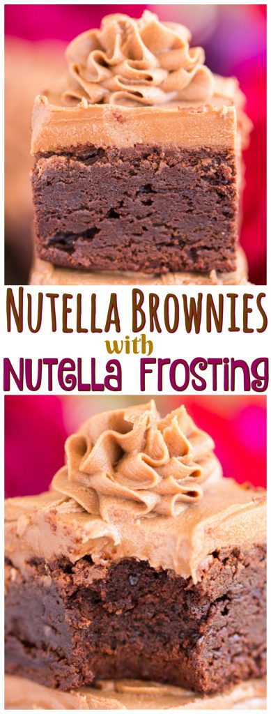 Easy Nutella Brownies with Nutella Buttercream recipe image thegoldlininggirl.com pin 2