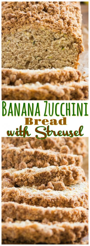Zucchini Banana Bread With Streusel Topping recipe image thegoldlininggirl.com pin 2