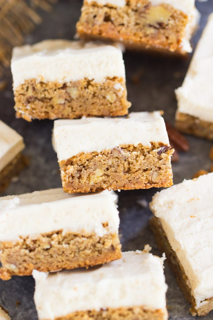 Butterscotch Blondies with Brown Butter Frosting recipe image thegoldlininggirl.com 16