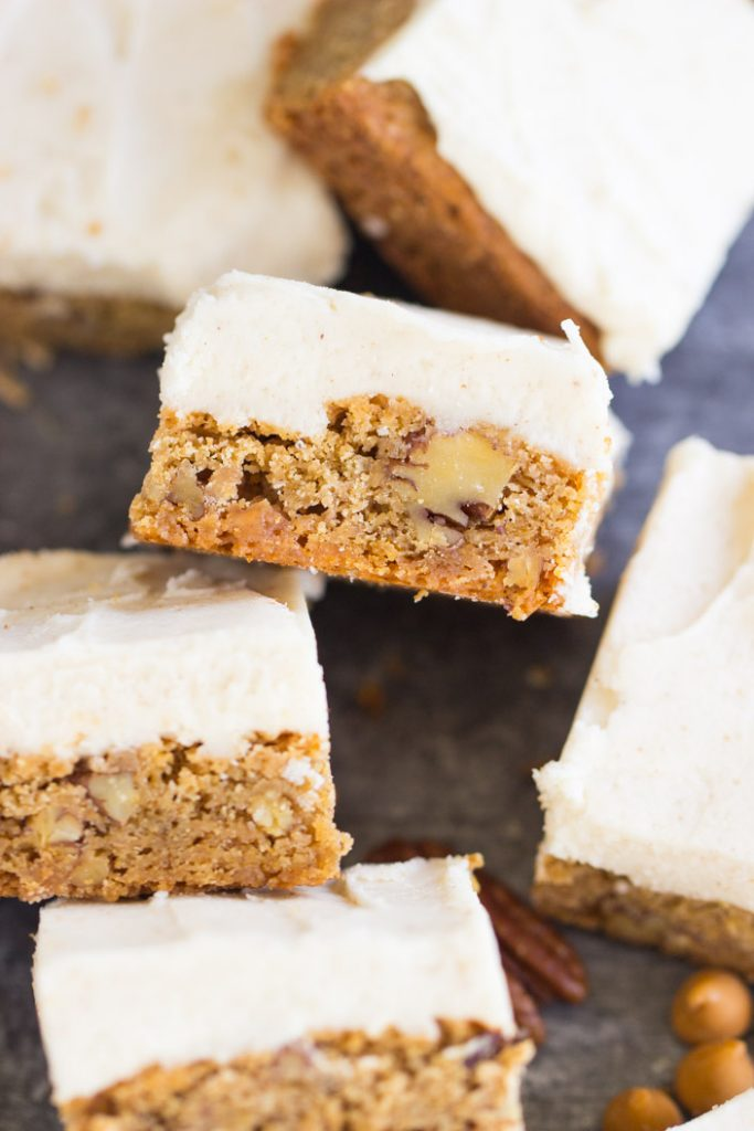 Butterscotch Blondies with Brown Butter Frosting recipe image thegoldlininggirl.com 17