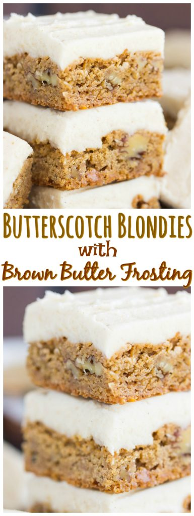 Butterscotch Blondies with Brown Butter Frosting recipe thegoldlininggirl.com pin 1