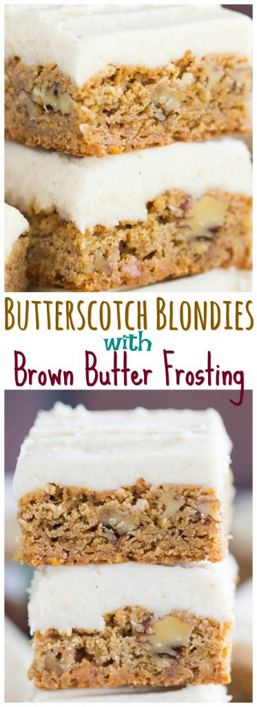 Butterscotch Blondies with Brown Butter Frosting thegoldlininggirl.com pin 3