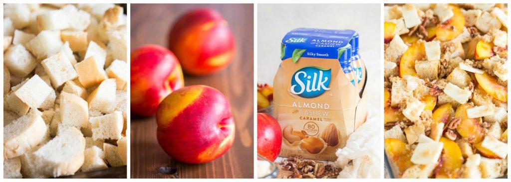 Caramel Pecan Peach French Toast Casserole recipe image collage thegoldlininggirl.com
