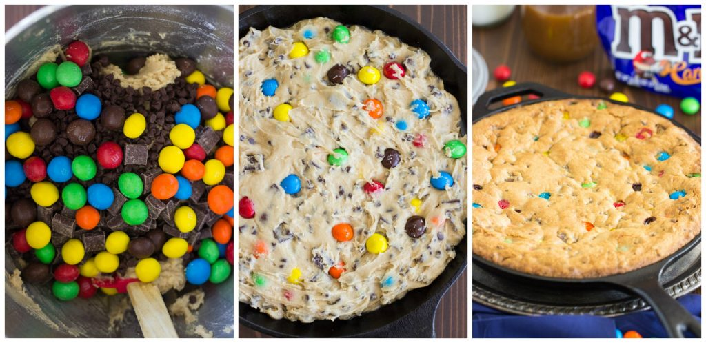 M&Ms Chocolate Chip Skillet Cookie Recipe image collage thegoldlininggirl.com