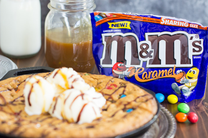 M&Ms Chocolate Chip Skillet Cookie Recipe image thegoldlininggirl.com 8