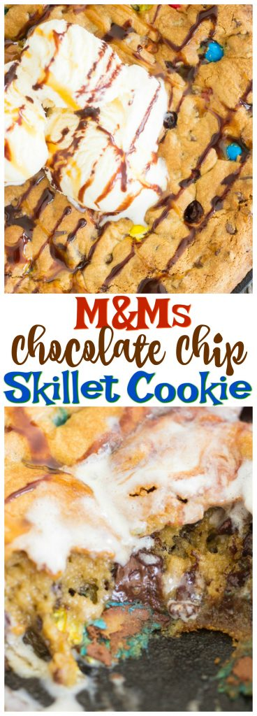 M&Ms Chocolate Chip Skillet Cookie recipe image thegoldlininggirl.com pin