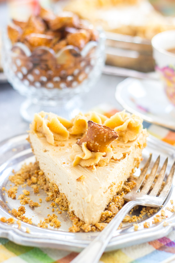 No Bake Peanut Butter Pie Recipe with Pretzel Crust image thegoldlininggirl.com 14