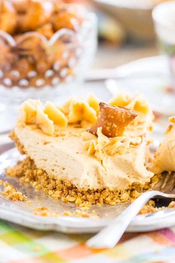 No Bake Peanut Butter Pie Recipe with Pretzel Crust image thegoldlininggirl.com 20