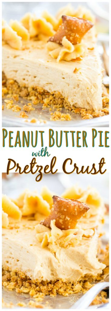 No Bake Peanut Butter Pie Recipe with Pretzel Crust recipe image thegoldlininggirl.com pin