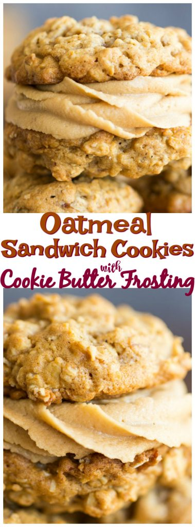 Oatmeal Sandwich Cookies with Cookie Butter Frosting recipe image thegoldlininggirl.com pin