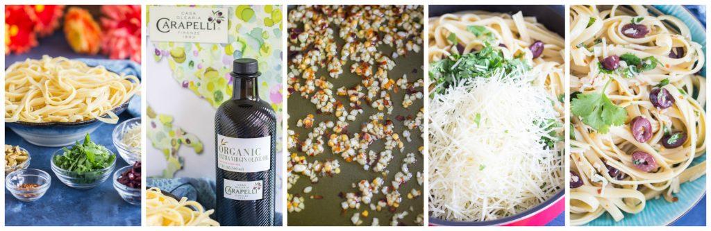 Pasta Aglio e Olio recipe image collage thegoldlininggirl.com