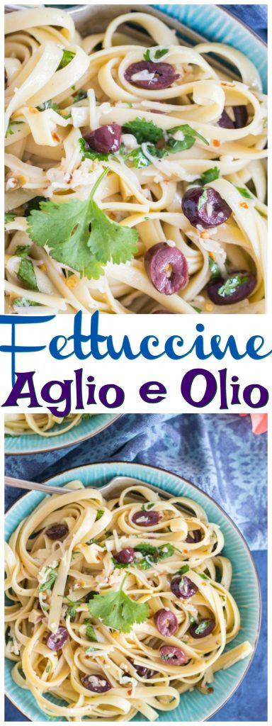 Pasta Aglio e Olio recipe image thegoldlininggirl.com pin