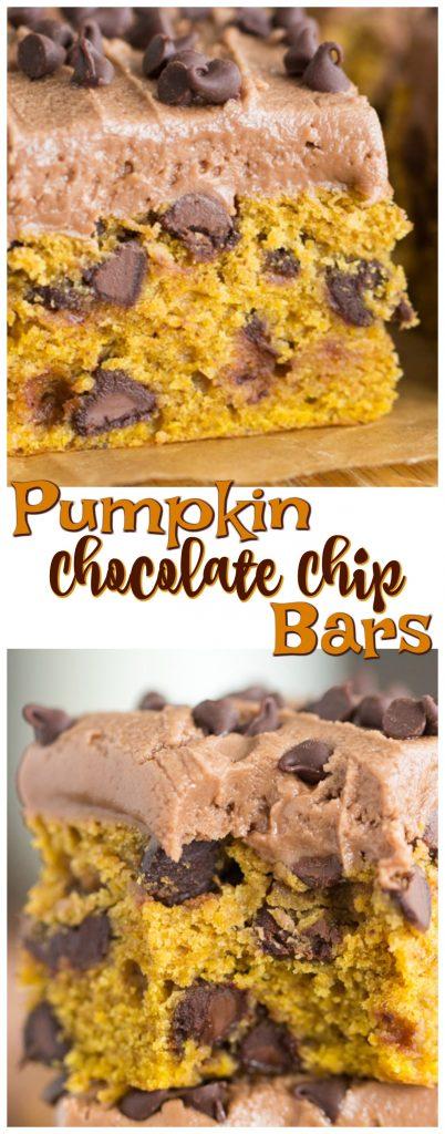 Pumpkin Chocolate Chip Bars recipe image thegoldlininggirl.com pin