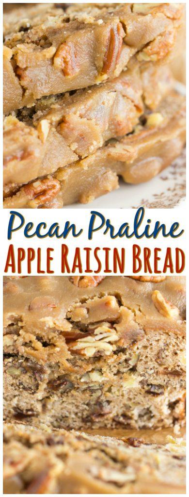 Apple Raisin Bread with Pecan Praline Topping recipe image thegoldlininggirl.com pin 2
