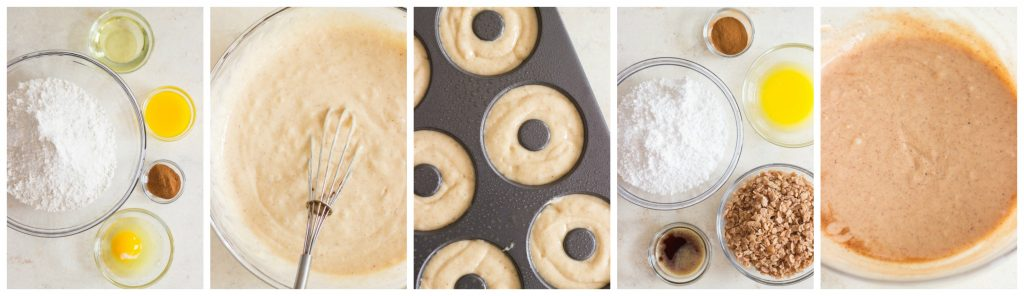 Baked Cinnamon Sugar Donuts with Cinnamon Glaze recipe image thegoldlininggirl.com collage