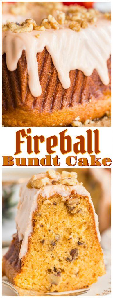 Fireball Cake recipe image thegoldlininggirl.com pin