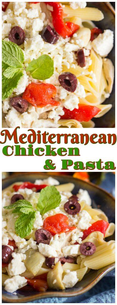 Mediterranean Chicken & Pasta recipe image thegoldlininggirl.com pin