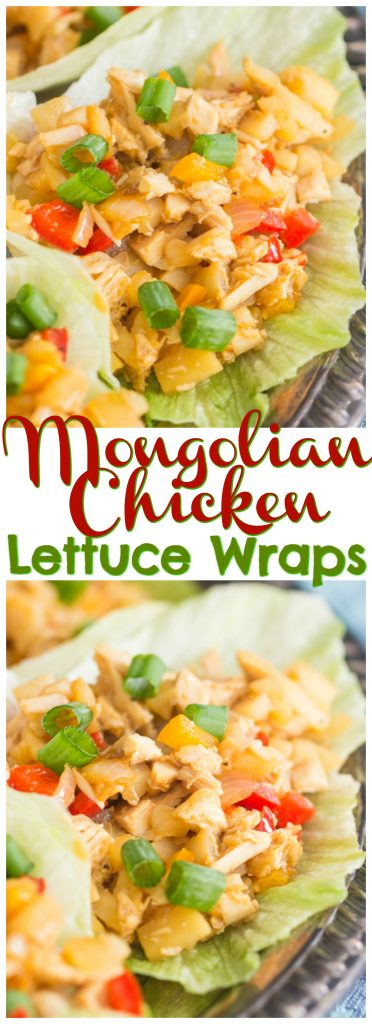 Mongolian Chicken Lettuce Wraps recipe image thegoldlininggirl.com pin