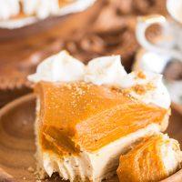 No Bake Double Layer Biscoff Pumpkin Cheesecake