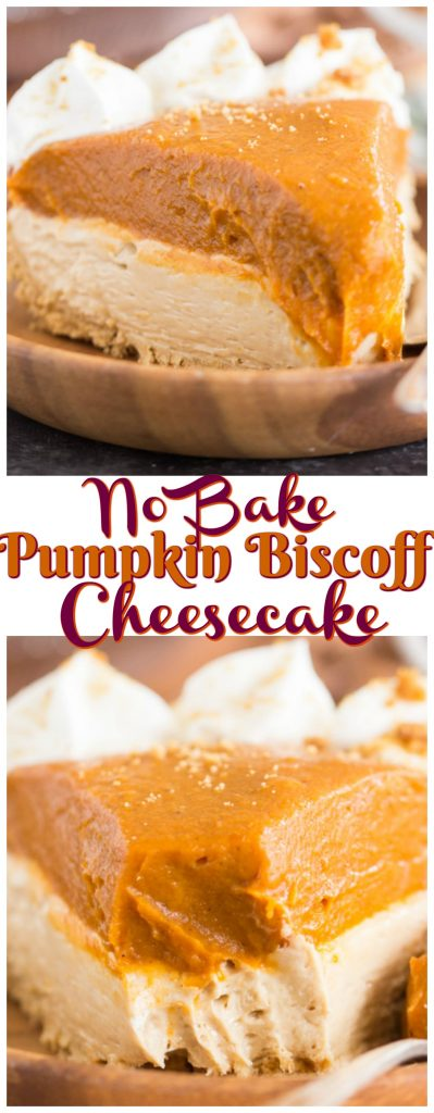 No Bake Double Layer Biscoff Pumpkin Cheesecake recipe image thegoldlininggirl.com pin 1
