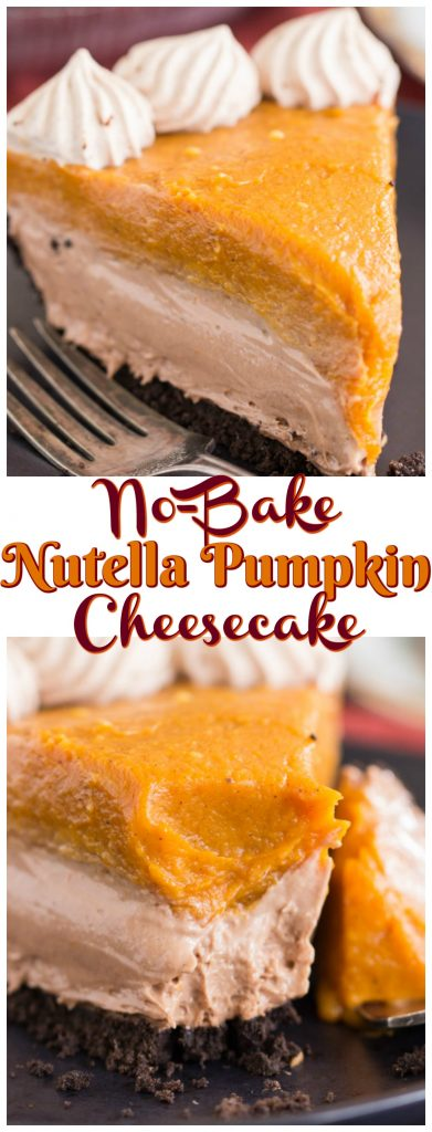 No Bake Double Layer Nutella Pumpkin Cheesecake recipe image thegoldlininggirl.com pin 2