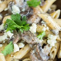 Pasta with Mushroom Gorgonzola Cheese Sauce