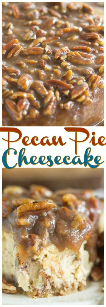 Pecan Pie Cheesecake recipe image thegoldlininggirl.com pin 1