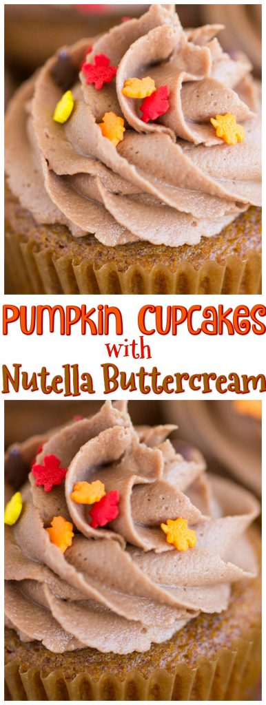 Pumpkin Cupcakes with Nutella Buttercream recipe image thegoldlininggirl.com pin 1