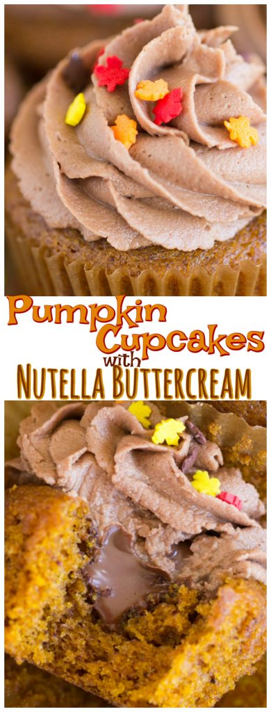 Pumpkin Cupcakes with Nutella Buttercream recipe image thegoldlininggirl.com pin 2
