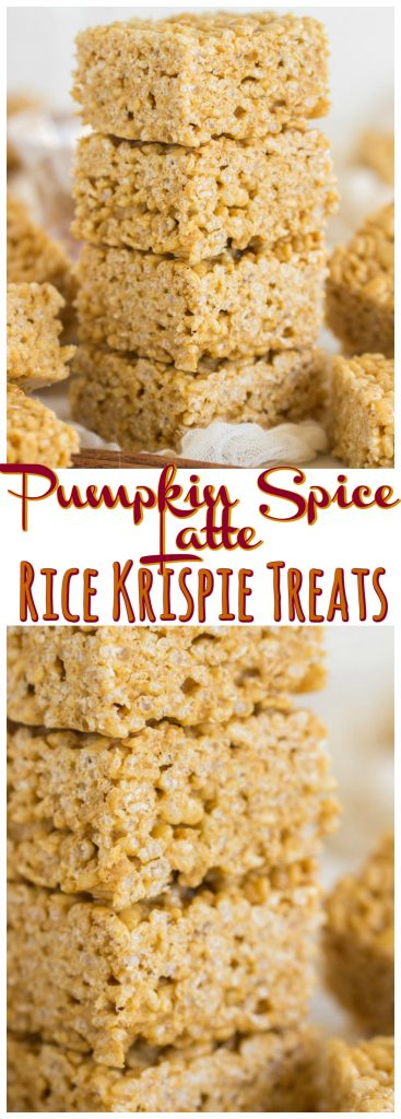 Pumpkin Spice Latte Rice Krispie Treats recipe image thegoldlininggirl.com pin