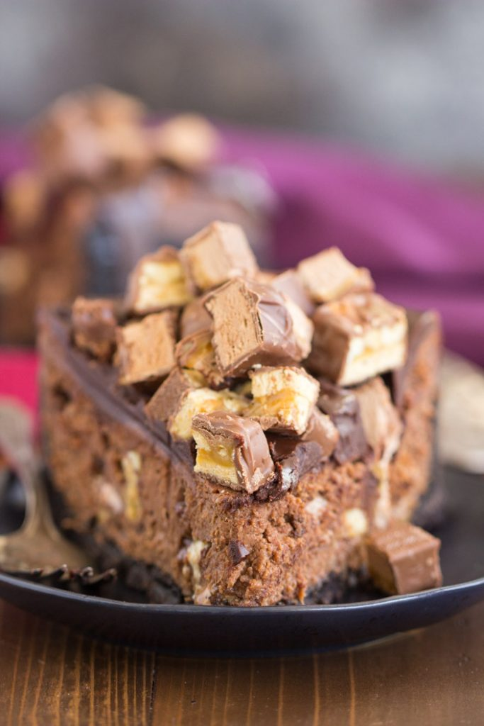 Triple Chocolate Candy Bar Cheesecake recipe image thegoldlininggirl.com 16